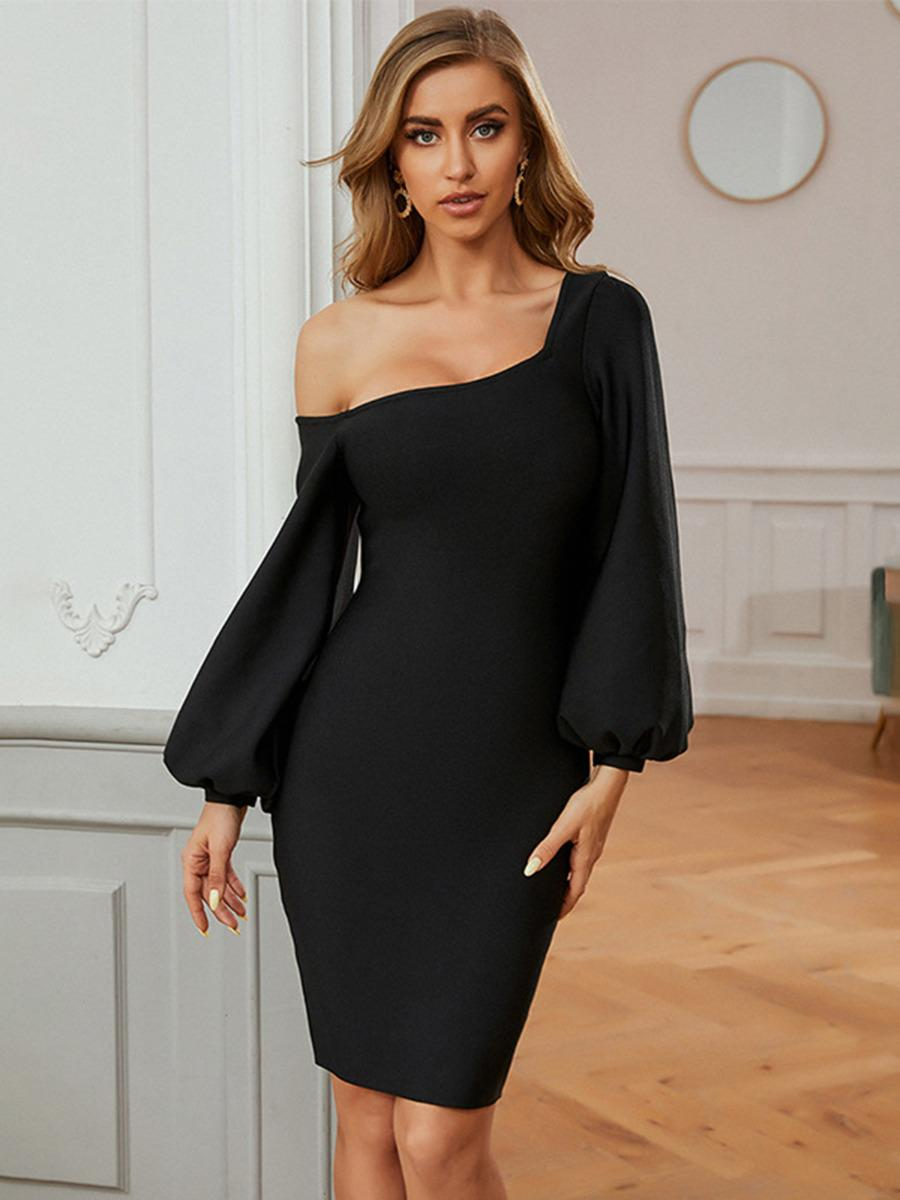 shestar wholesale one shoulder zipper back black party dress