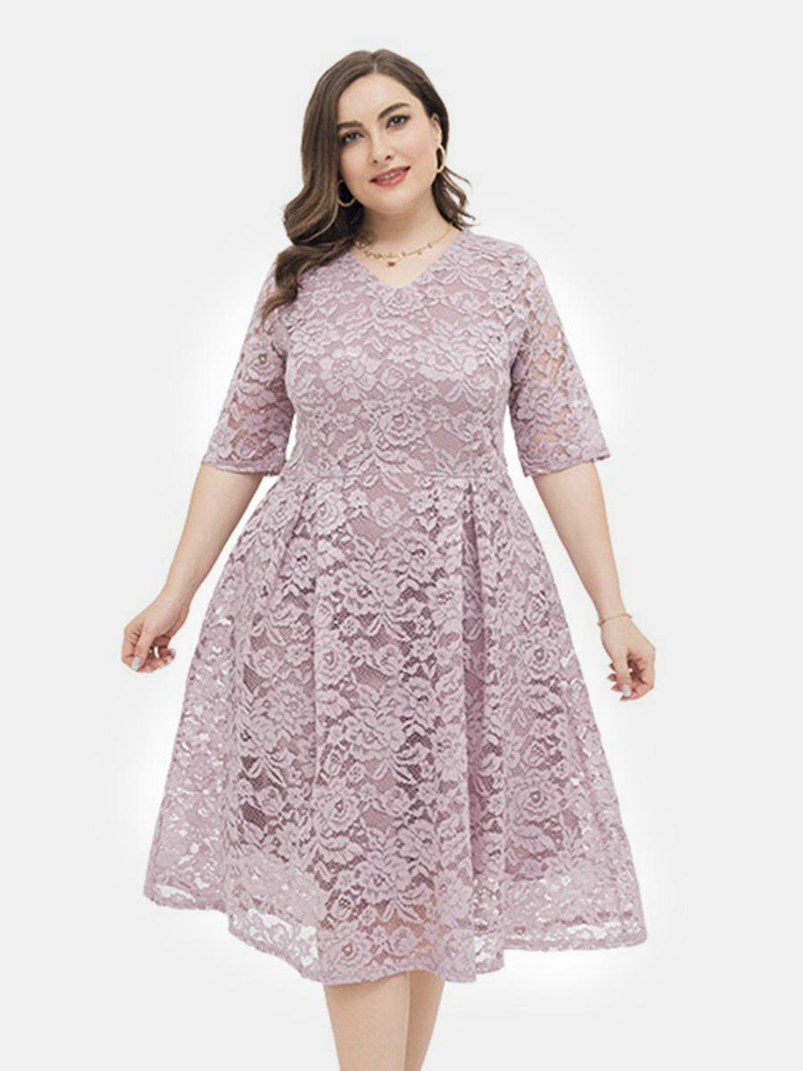 shestar wholesale plus size half sleeve lace embroidery evening dress