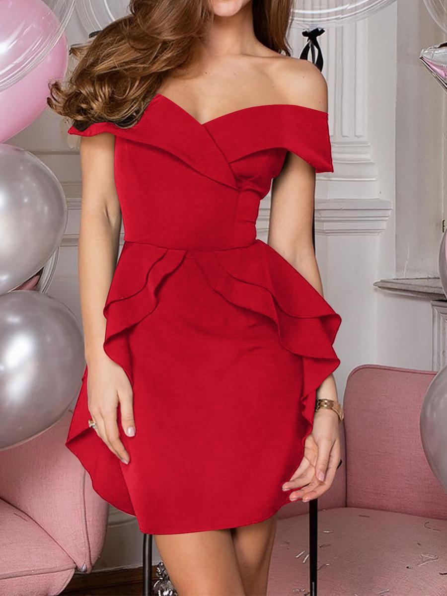 shestar wholesale spring solid color ruffle off shoulder dress