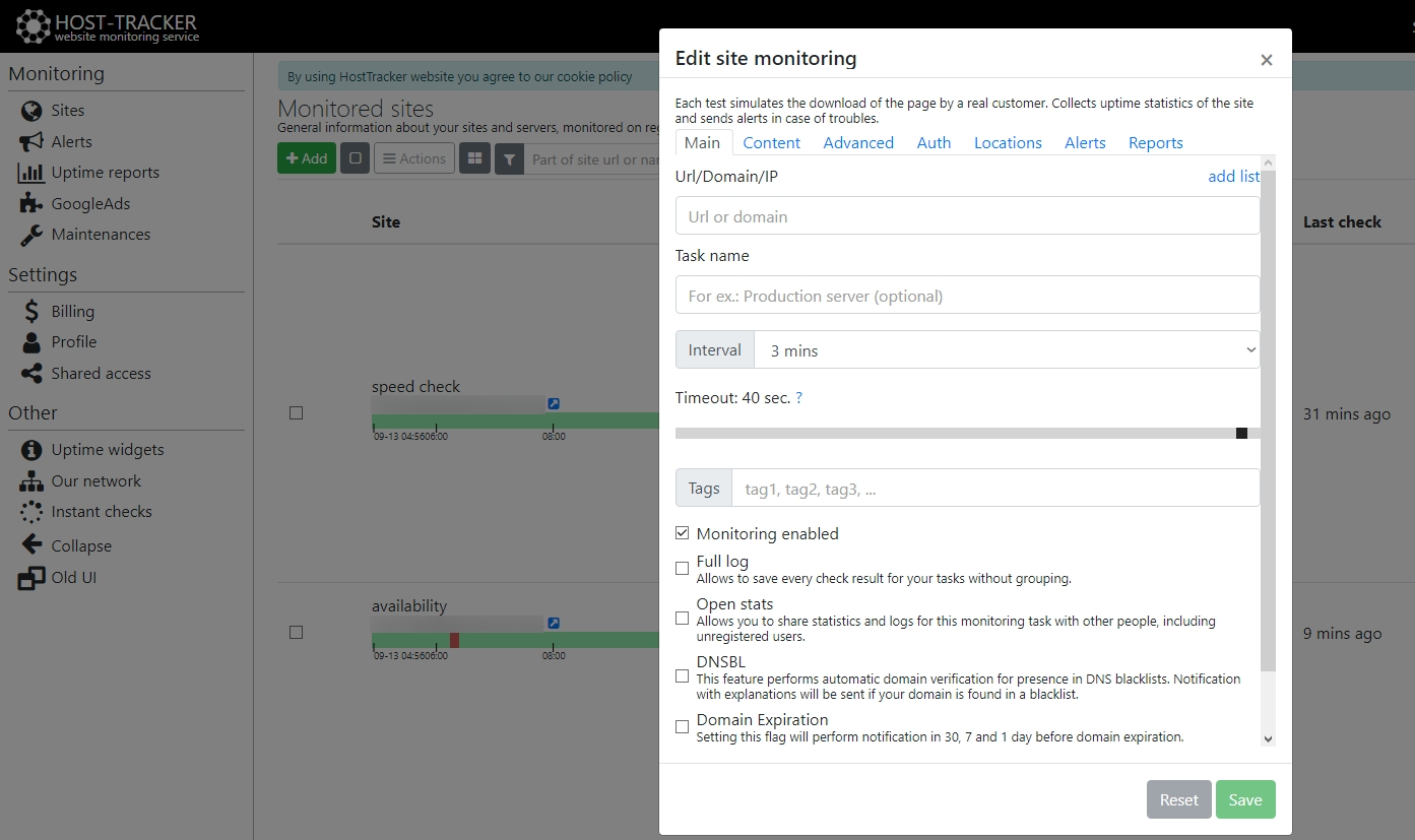 how to monitor website with HostTracker